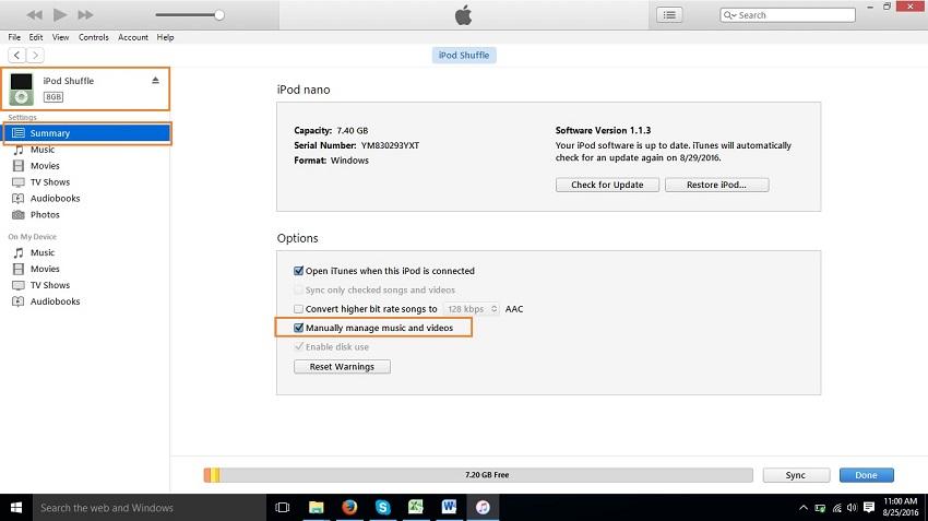 Transferência de música do iPod para iPad com o modo manual - etapa 5
