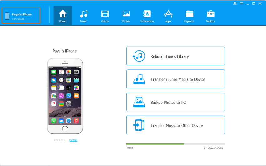 transfer files from PC to iPhone using TunesGo