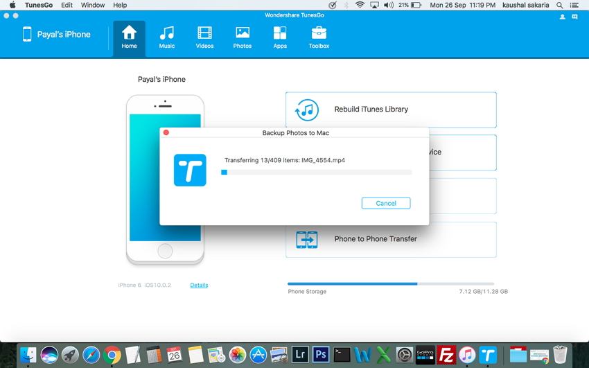 Respalda Datos de iPhone a Mac con TunesGo (Mac