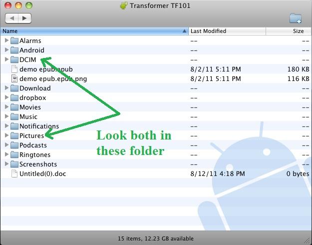 transfert de fichiers android