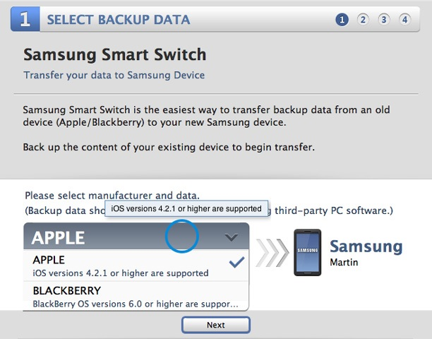 smart switch contacts iphone vers le Galaxy S7/S6/S5