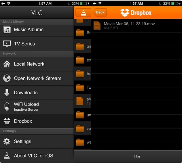 Tips voor VLC voor iPhone - Speel Dropbox video's af.