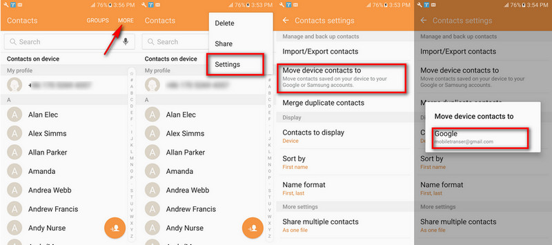 google account android contacts