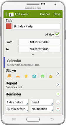 backup calendar android