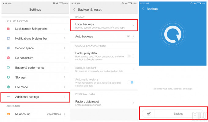 Backup and Restore Xiaomi on Local phone