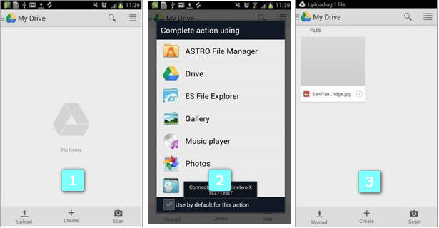 Transfert de fichiers android vers google drive via wifi