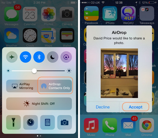 Copy photos to iPhone camera roll with AirDrop