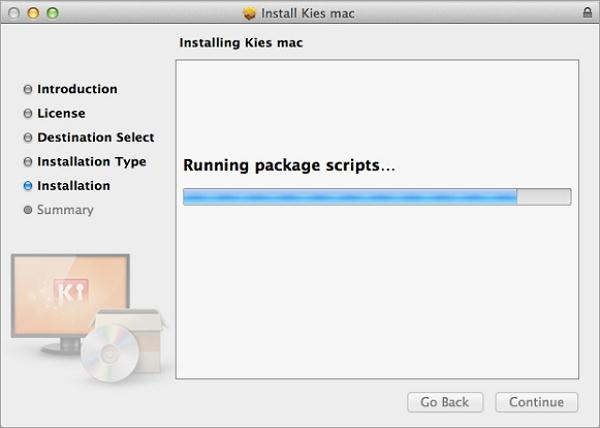 download and install kies for mac- processing is running