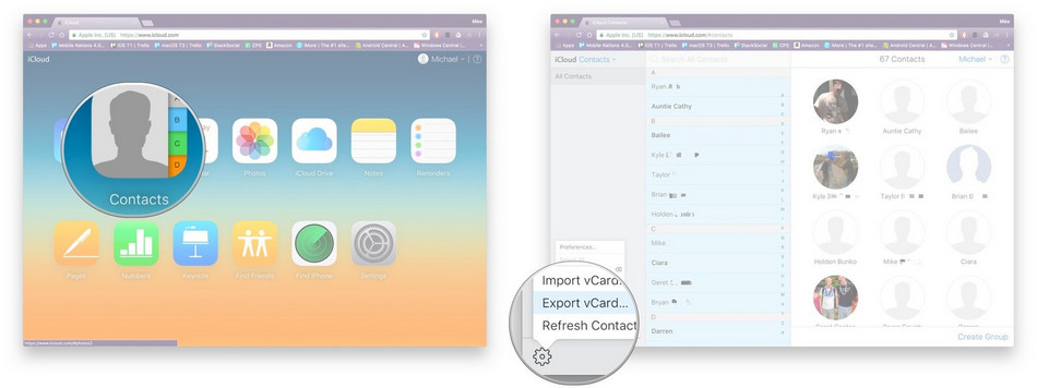sync contacts from iphone to mac via icloud