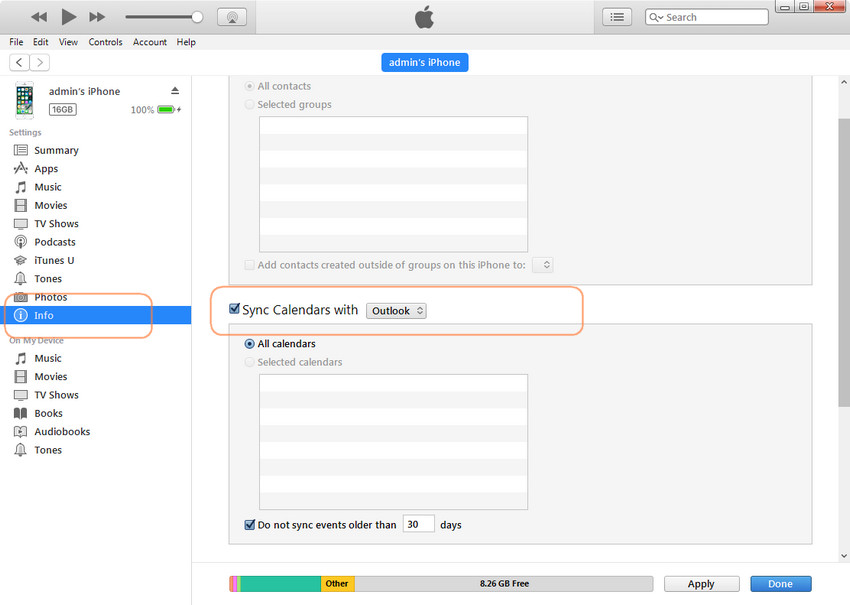sync outlook calendar with iphone using iTunes