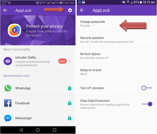 regulate 360 Security App Lock Settings