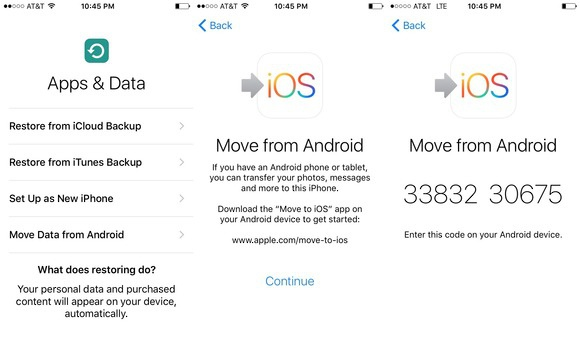 Transfer data from an old Android to a new iPhone