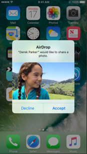 Transfer pictures from iphone to iphone via AirDrop