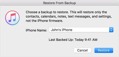 restore iphone 6 to iphone 8 via iTunes