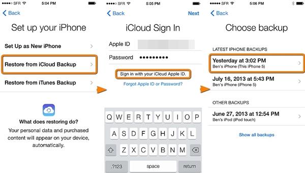 restore iphone 6 to iphone 8 via icloud