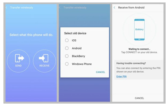Transfer files from Samsung to Galaxy Note 8 with Samsung Smart Switch