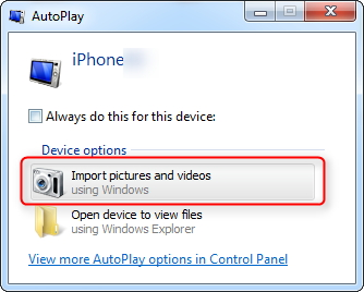 Import photos from iPhone 8 to Windows 7/8/9/10 PC via AutoPlay