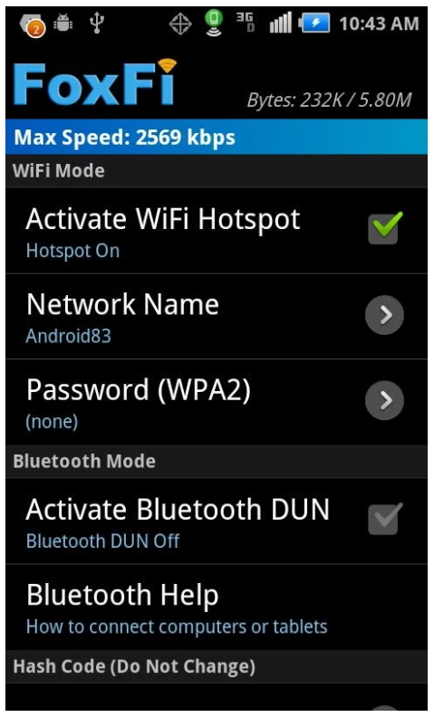 Free Tethering App Android: FoxFi