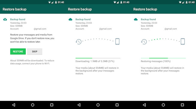 restore whatsapp history to samsung galaxy s8