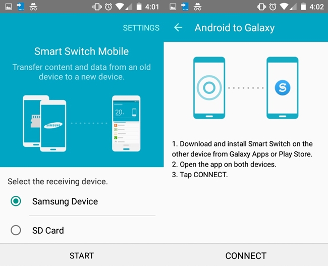 how to sync Samsung Galaxy S7, S6, S5 to S8 with Samsung Smart Switch