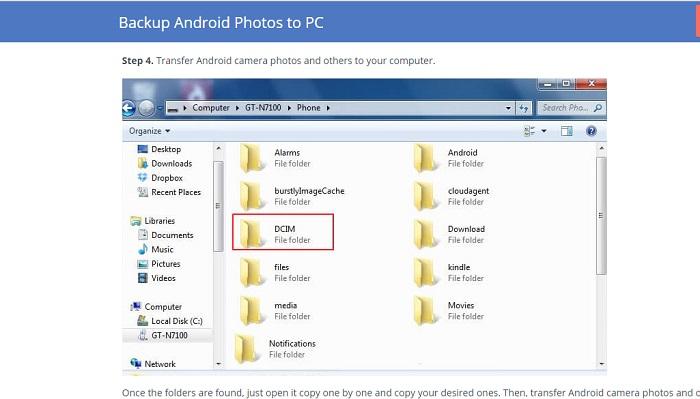 backup android photos manually
