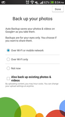 backup android photos with google plus