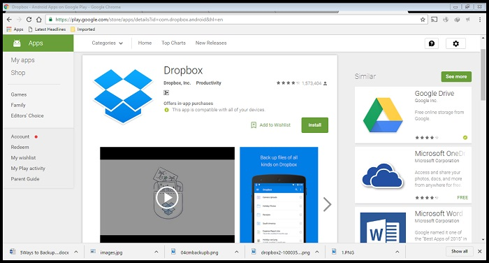 backup android photos with Dropbox