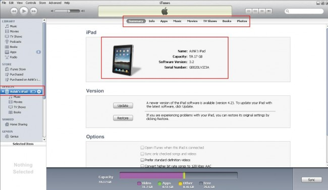 transferir arquivos do pc para o ipad usando o itunes