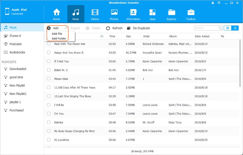 mover arquivos de computador para ipad mini 2 com tunesgo