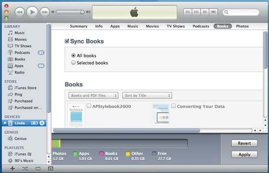 transferir de arquivos pdf a partir do pc para ipad com o itunes