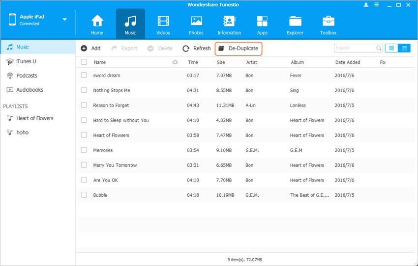 eliminar musicas duplicadas a partir ipad com tunesgo