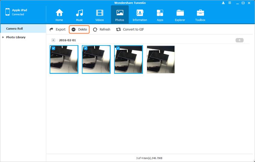como apagar fotos do ipad camera rolo