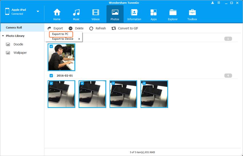 transferir fotos do ipad para o cartao sd usando wondershare tunesgo