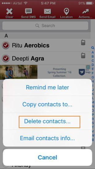 como excluir contatos no iphone com um iphone app
