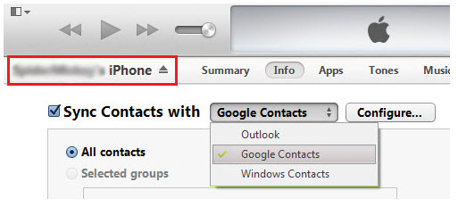 transferir contatos do iphone para o gmail usando o itunes