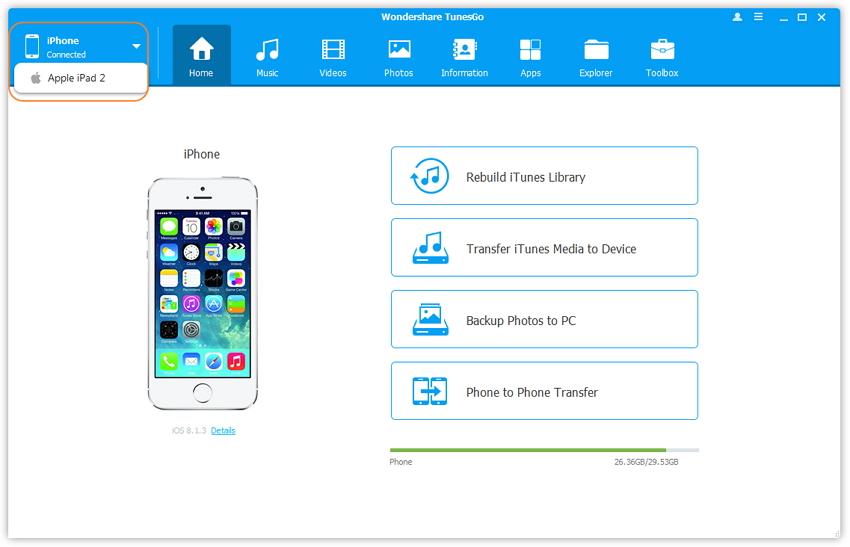 passos sobre como transferir musicas de ipad para o iphone usando tunesgo