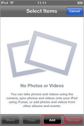 mova fotos camera roll para o album diretamente em seu idevice