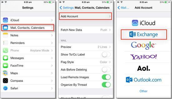 sincronizar o putlook com o iphone atraves do painel de controle do icloud