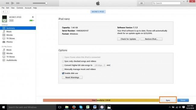 adicionar videos para o ipod nano com o modo de sincronizacao