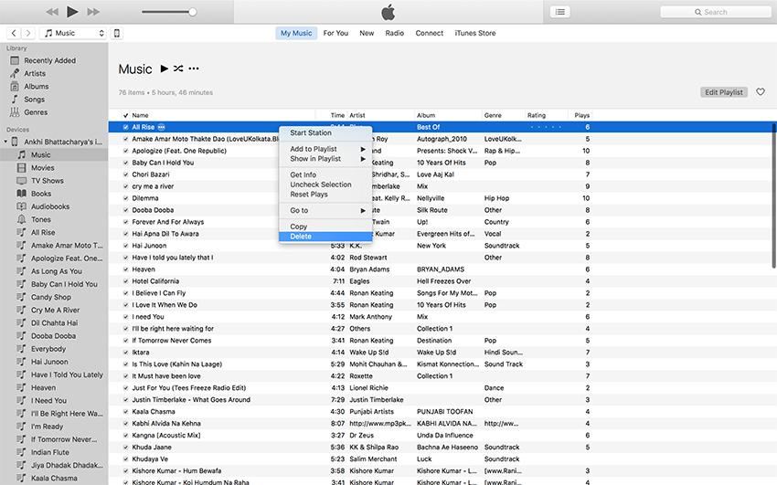 como excluir musicas do ipod classic touch com o itunes