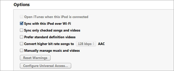 itunes sincronizacao com o ipod via wi fi