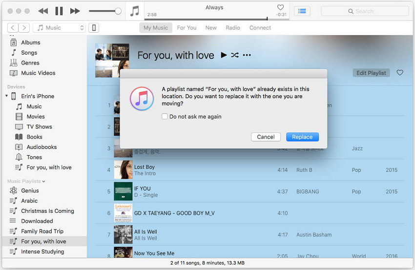 use o itunes para transferir playlists do itunes para iphone