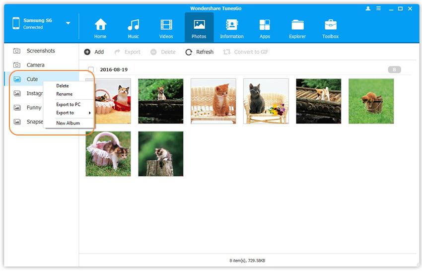 Android-Fotoalben verwalten
