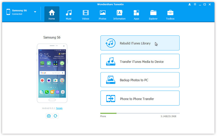 iTunes-Bibliothek über Android neu aufbauen