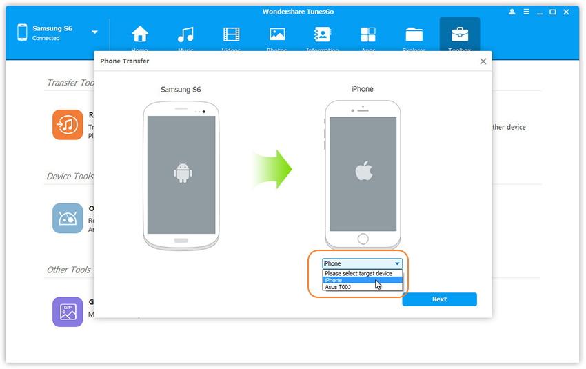 Wählen Sie das Zielgerät zur Übertragung von Dateien aus