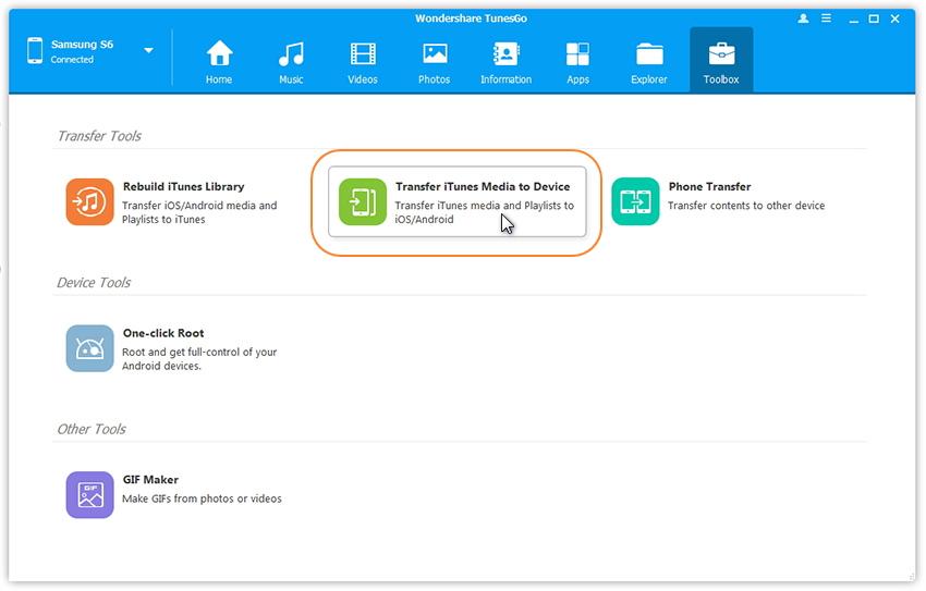 iTunes-Medien auf Gerät übertragen