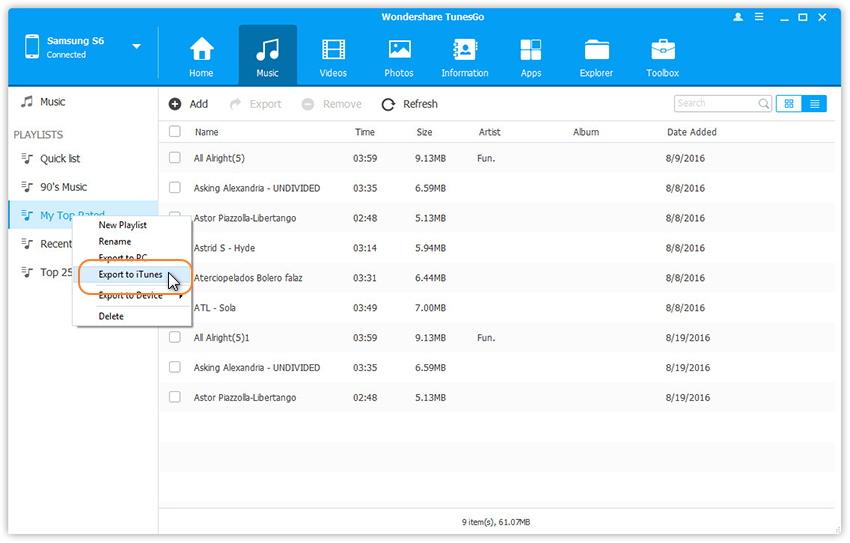 Wiedergabeliste von Android in die iTunes-Bibliothek übertragen