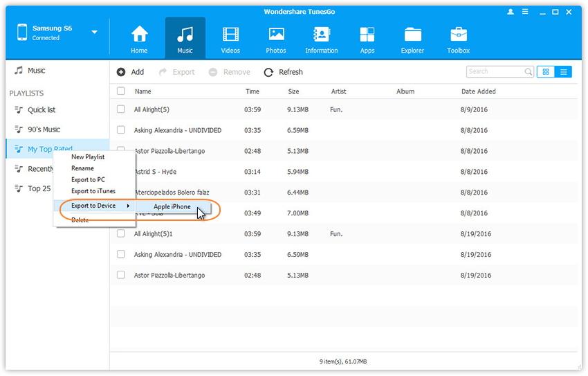 Playlist von Android auf ein anderes Gerät übertragen