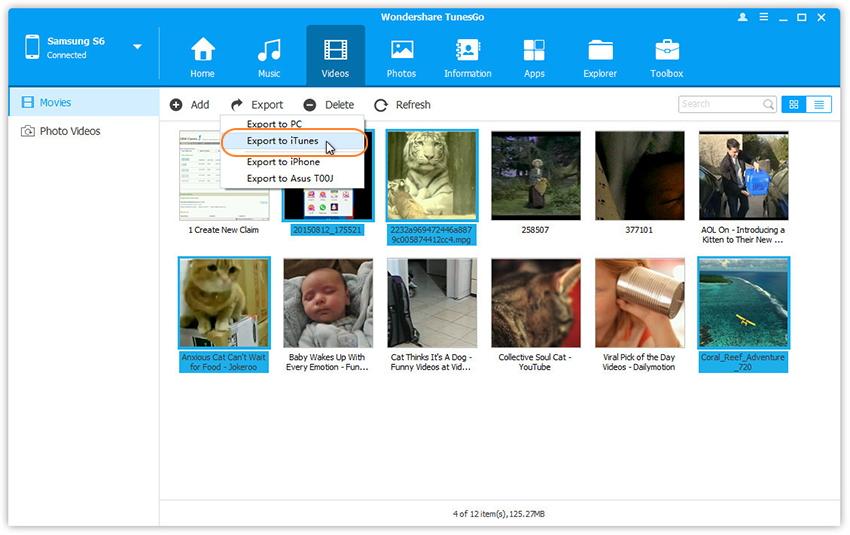 Videos von Android in die iTunes-Bibliothek übertragen