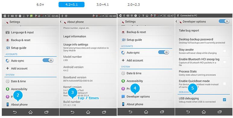 Aktivieren von USB-Debugging unter Android 4.2-5.1